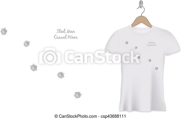 Bullet Holes Tshirt Print Design Vector Template Steel Man Casual - T shirt graphic design template