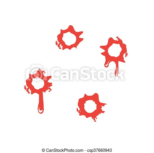 Bullet Holes With Blood Splatters Flat Vector Illustration On White