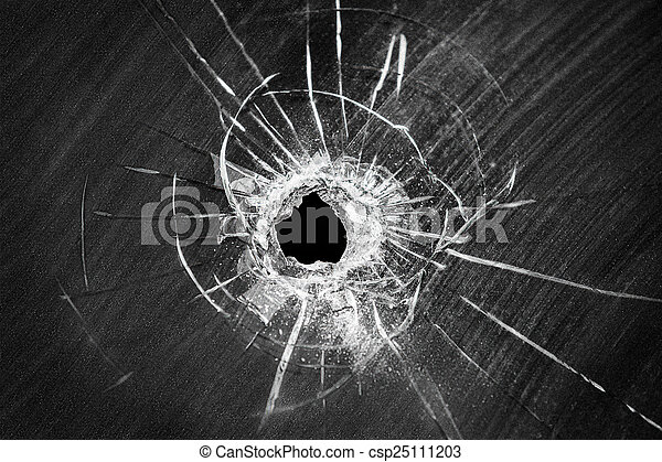 Bullet shot cracked hole on broken window glass