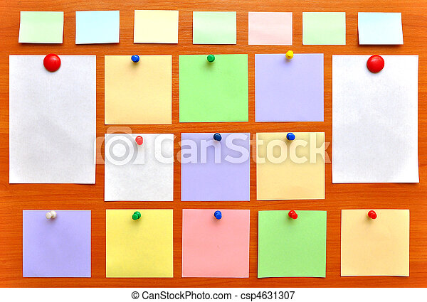 bulletin board with colorful paper notes - csp4631307