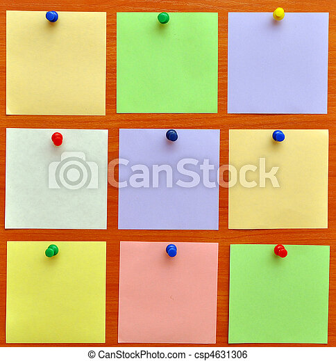 bulletin board with colorful paper notes - csp4631306