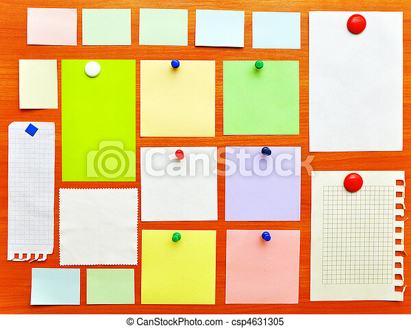 bulletin board with colorful paper notes - csp4631305