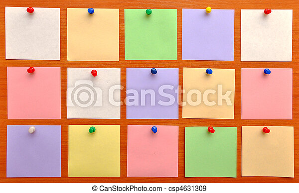 bulletin board with colorful paper notes - csp4631309