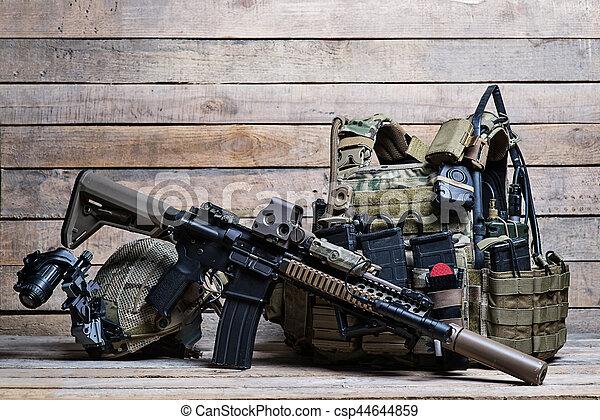 Bulletproof vest,rifle and helmet - csp44644859