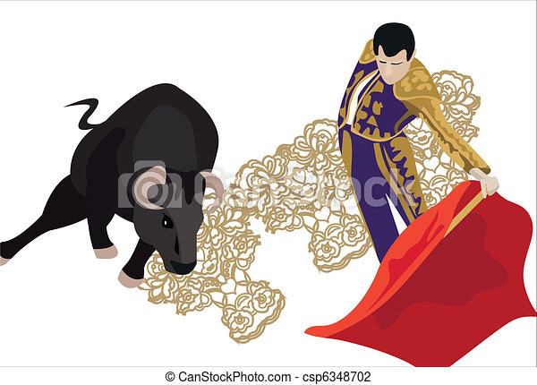 Bullfighting. Illustration of a matador fighting with a ...