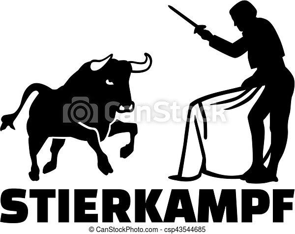 Bullfighting silhouette with german name - csp43544685