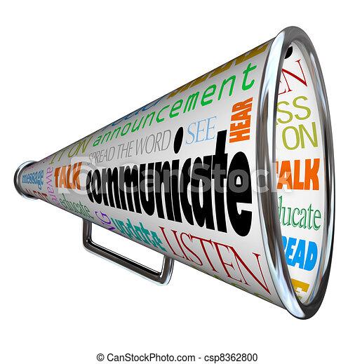 bullhorn , επικοινωνώ , μεγάφωνο , διαδίδομαι , λέξη  - csp8362800