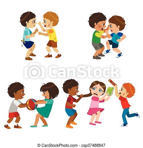 Niños bravucones ilustrados - csp37488847