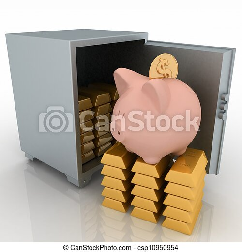 bullions and piggy bank in a security safe. 3d rendered illustration isolated on white background. - csp10950954