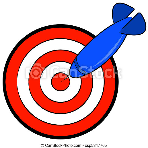 red and white bullseye with blue dart hitting target stock rh canstockphoto com