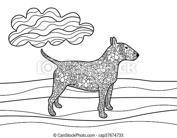 Bullterrier Dog Coloring Book For Adults Vector Illustration