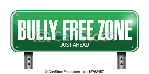 bully free zone road sign illustration design - csp15762457