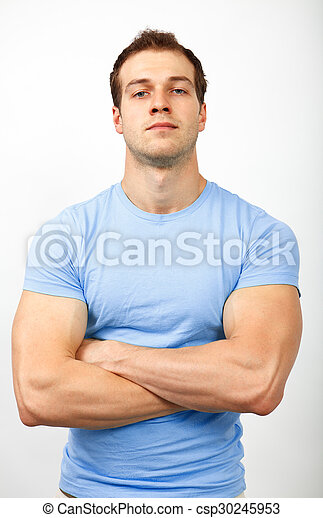 Bully or arrogance concept - muscular guy looking tough - csp30245953