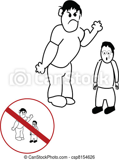Big Boy Bullying A Smaller Boy With Anti Bully Symbol