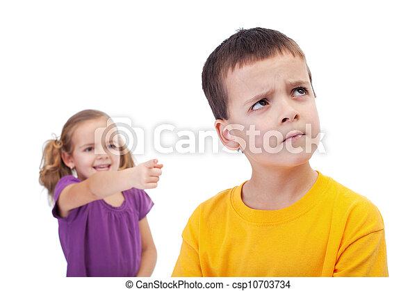 Bullying concept - girl mocking young boy - csp10703734