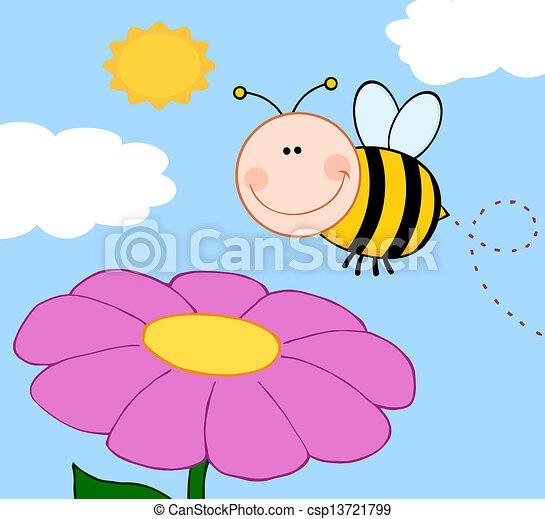 bumble, hen, flyve, blomst, bi - csp13721799