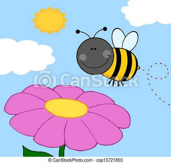 bumble, hen, flyve, blomst, bi - csp13721803
