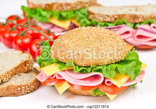 bun and sandwiches with ham - csp12211814
