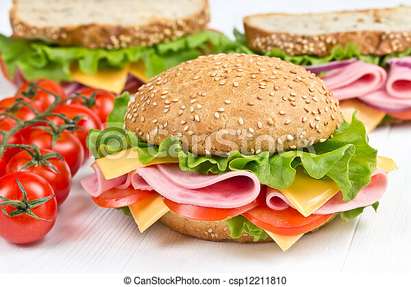 bun and sandwiches with ham snd cheese  - csp12211810