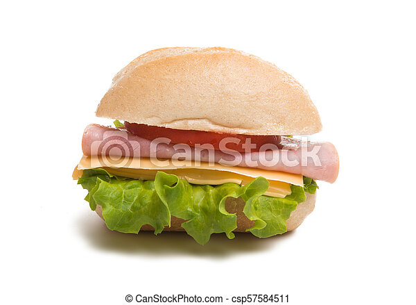 Bun with cheese and ham isolated - csp57584511