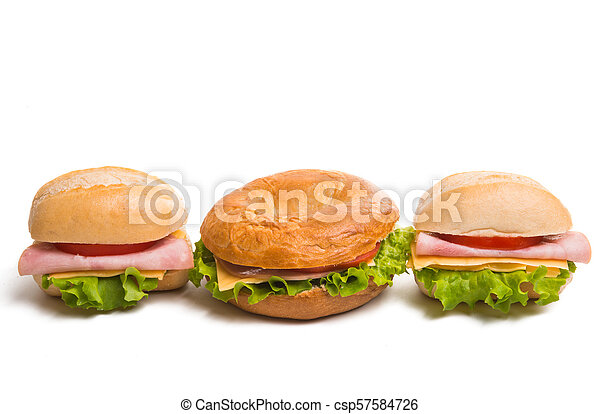 Bun with cheese and ham isolated - csp57584726
