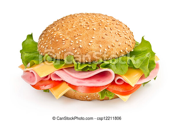 bun with ham, cheese and tomato isolated on white background - csp12211806