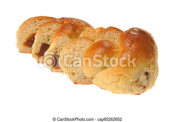 bun with jam on white - csp65262652