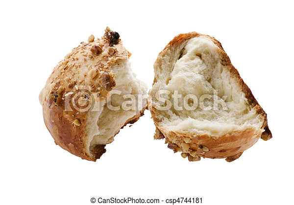 bun with nuts on white background - csp4744181