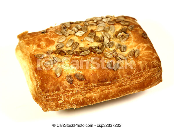Bun with puff pastry on white background - csp32837202
