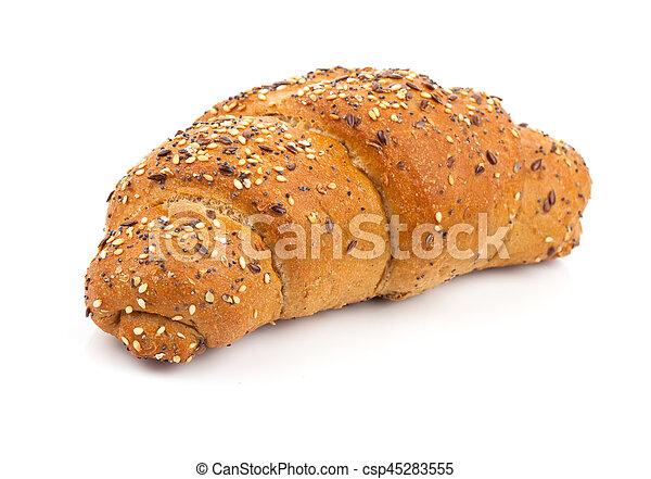 bun with sesame seeds on white background - csp45283555