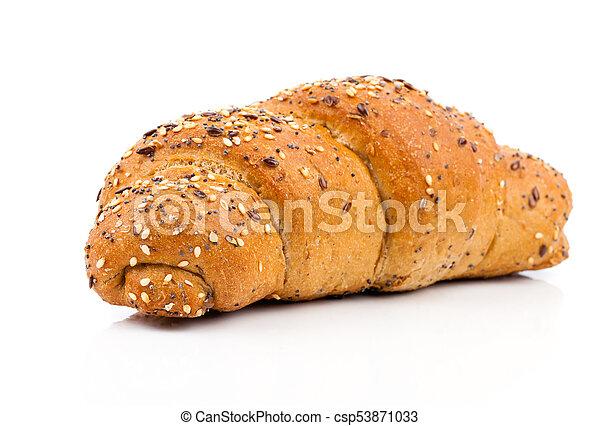 bun with sesame seeds on white background - csp53871033
