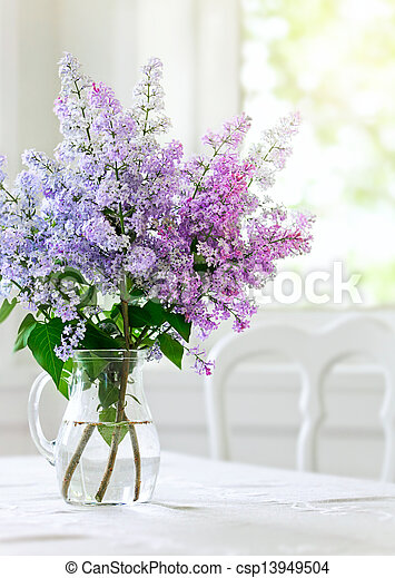 Bunch Lilac Flowers In Vase On Table Bunch Lilac In Vase On Table