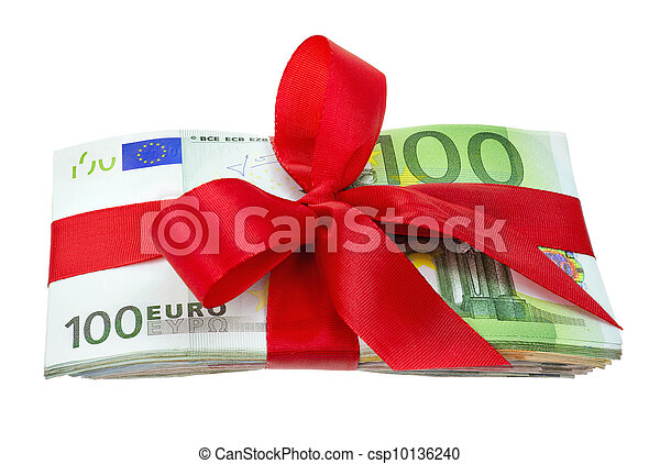 Bunch of euro notes as a gift with bow - csp10136240