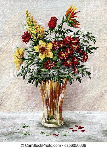 Bunch of flowers in a glass vase - csp6050086