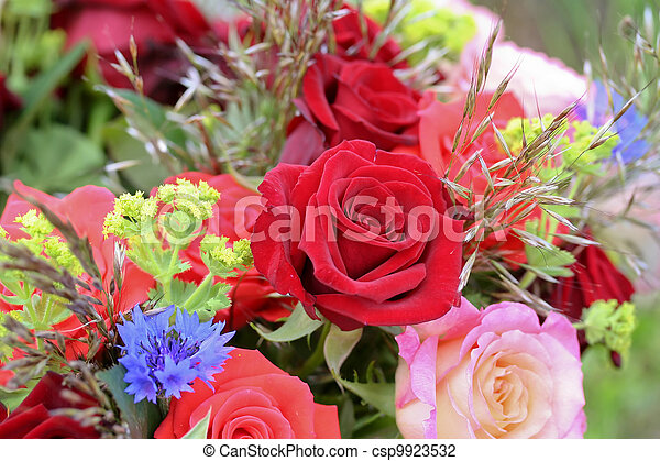 Bunch of flowers with roses - csp9923532
