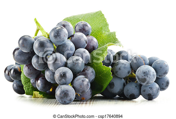 Bunch of fresh red grapes isolated on white - csp17640894