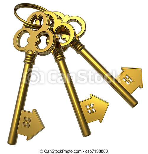 Bunch of golden house-shape keys - csp7138860