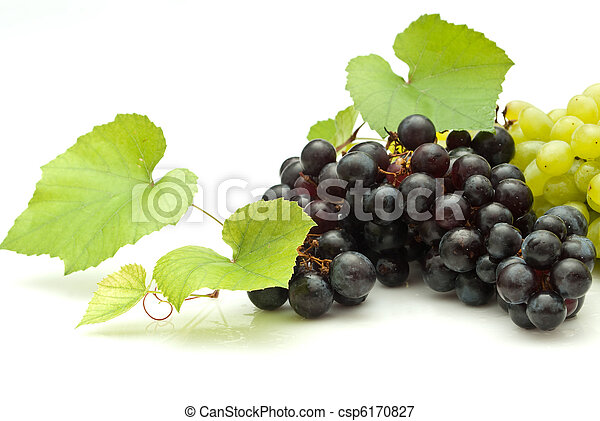 Bunch of grapes on white background - csp6170827