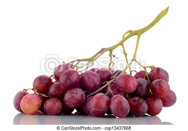 bunch of grapes on white background - csp13437668