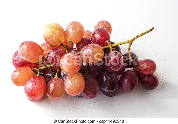 Bunch of grapes on white background - csp41492340