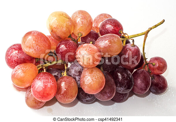 Bunch of grapes on white background - csp41492341