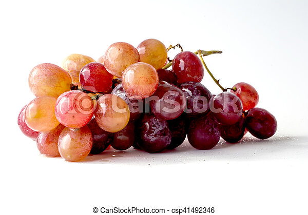 Bunch of grapes on white background - csp41492346