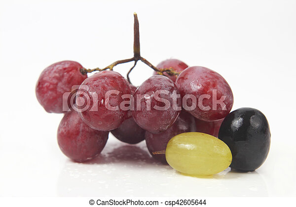 bunch of grapes on white background - csp42605644