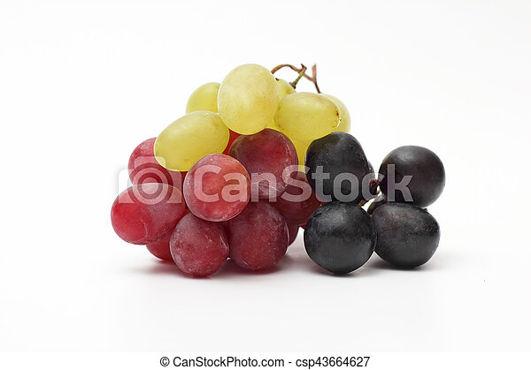 bunch of grapes on white background - csp43664627