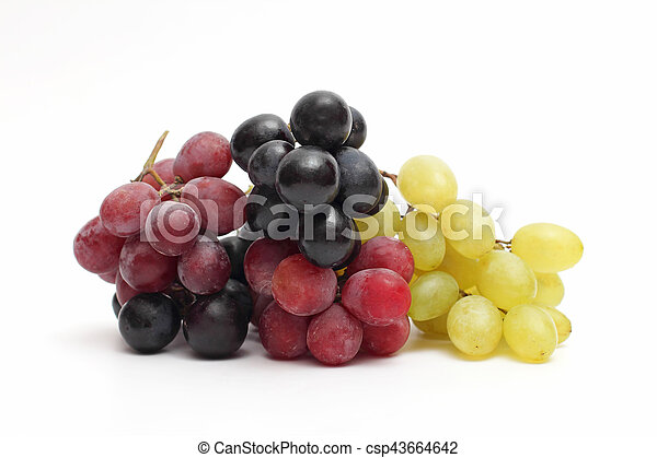 bunch of grapes on white background - csp43664642