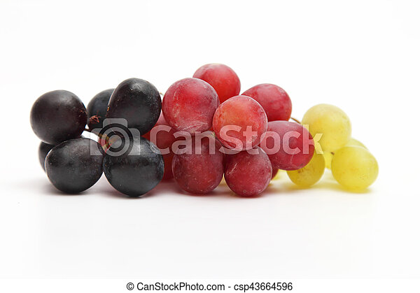 bunch of grapes on white background - csp43664596