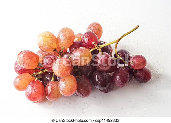 Bunch of grapes on white background - csp41492332