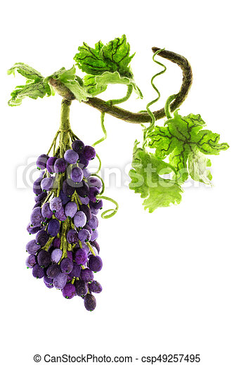Bunch of handmade grapes from felted wool on white background - csp49257495