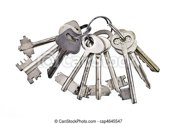 Bunch of keys on white background - csp4645547
