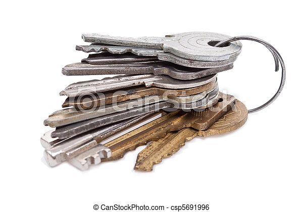 Bunch of keys on white background - csp5691996